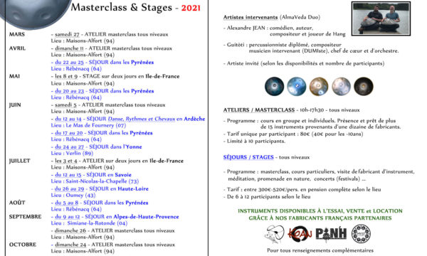 Calendrier-Masterclass & Stages-Touch a pan-2021